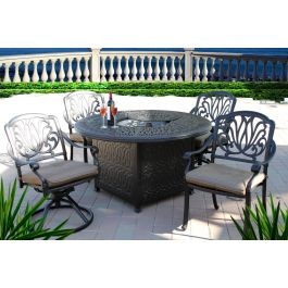 """Elisabeth 5pc Outdoor Dining Set with 52"""" Round Fire Pit ..."""